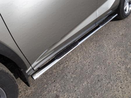 Lexus NX 200 2017-Пороги овальные с накладкой 75х42 мм