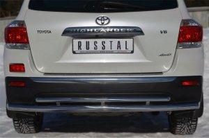 Toyota Highlander 2010 Защита заднего бампера d63 (секции)/ d42 (дуга) THZ-001256