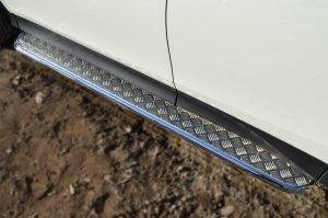 Toyota RAV 4 2013- Пороги труба  d42 с листом TR4L-001285