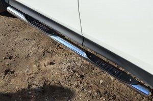 TOYOTA RAV 4 2013 Пороги труба d76 с накладкой (вариант 3) TR4T-0012843