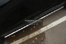Toyota Highlander 2014- Пороги труба 75х42 овал с проступью THRO-001919