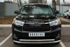 Toyota Highlander 2014- Защита переднего бампера d63 (секции) d63 (дуга) THRZ-001914