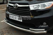 Toyota Highlander 2014- Защита переднего бампера d63 (секции) d42х2 (уголки) THRZ-001917