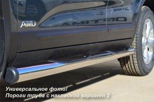 VOLKSWAGEN  Touareg пороги труба d76 с накладками (вариант 2) VWT-0007022