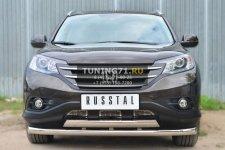 Honda CR-V  2,4 2013- Защита переднего бампера d76 (секции) d75х42 (дуга) HVZ-001766