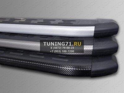 Kia Soul 2014 Пороги алюминиевые с пластиковой накладкой (карбон серебро) 1720 мм