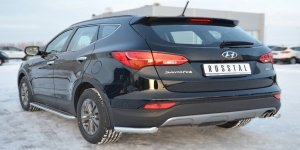 Hyundai Santa Fe 2012- Защита заднего бампера уголки d63/42  HSFZ-001229