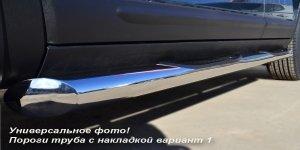 HYUNDAI Tucson  пороги труба d76 с накладками (вариант 1) HTT-0000741