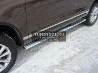 Volkswagen Touareg 2014 Пороги овальные с накладкой 120х60 мм