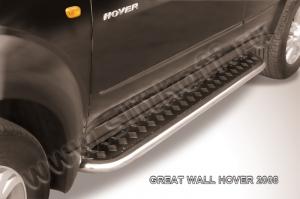 """GREAT WALL HOVER (2008)-Пороги d42 с листом (чёрный """"квинтет"""")"""