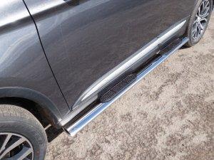 Mitsubishi Outlander 2015 Пороги овальные с накладкой 120х60 мм