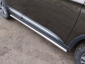Mitsubishi Outlander 2015 Пороги труба 60,3 мм