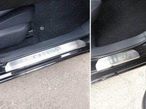 Nissan Tiida 2015 Накладки на пороги (лист шлифованный надпись Tiida)