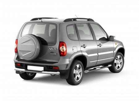 Защита заднего бампера с накладкой d63мм Chevrolet Niva FL (нерж)
