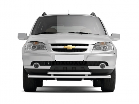 Защита переднего бампера двойная d51/63мм Chevrolet Niva FL (нерж)