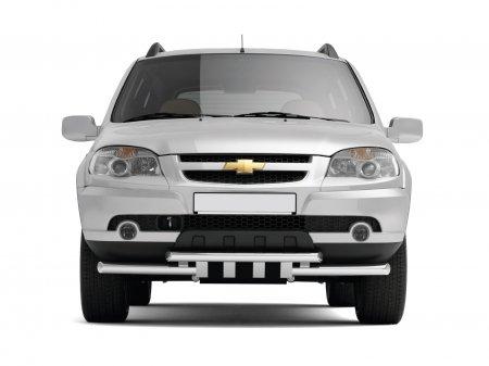 Защита переднего бампера двойная с зубьями d63/63мм Chevrolet Niva FL (нерж)