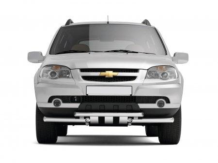 Защита переднего бампера двойная с круглыми зубьями d51/63мм Chevrolet Niva FL (нерж)
