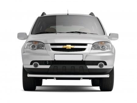 Защита переднего бампера одинарная d63мм Chevrolet Niva FL (нерж)