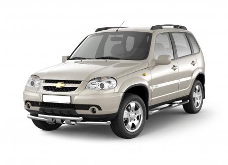 Защита порогов с накладками d63мм Chevrolet Niva FL (нерж)