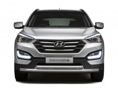 Защита переднего бампера двойная d51/63мм Hyundai Santa Fe (нерж) 2013