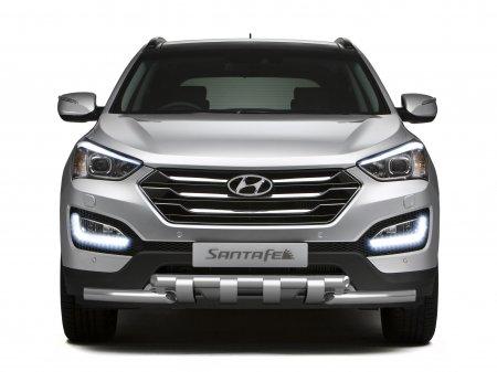 Защита переднего бампера двойная с зубьями d63мм Hyundai Santa Fe (нерж) 2013
