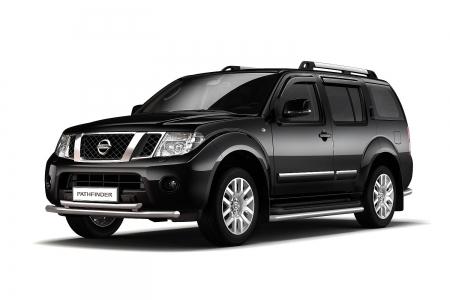 Защита переднего бампера двойная d63мм Nissan Pathfinder (нерж)