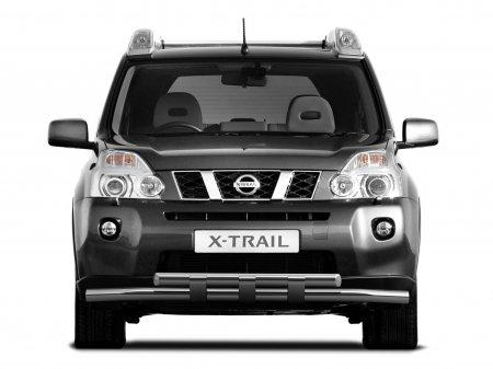 Защита переднего бампера двойная с пластинами d63мм Nissan X-Trail (нерж)