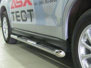 Mitsubishi ASX пороги труба d76 с накладками (вариант 1) MAT-0007281
