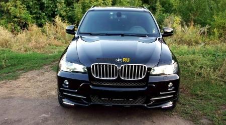 2007 - 2013  BMW X5 E70 Реснички (широкие) ABS пластик Накладки на фары 2 шт.