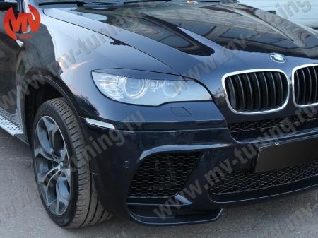 АБС-пластик Реснички на фары BMW X6 2008- (для стандартных фар, не подходят на Led оптику)