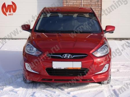 Стеклопл.Юбка переднего бампера Hyundai Solaris(2010-2013) var№2