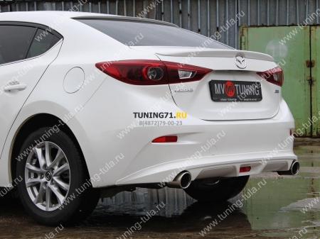 АБС-пластик Диффузор заднего бампера Mazda 3 2013- var №1 (ровный)
