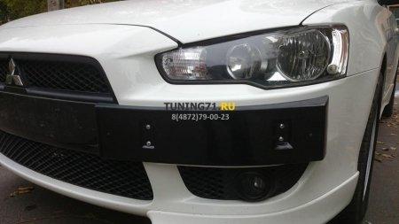 2007 -  M Lancer X Подиум номера EVO №2 ABS пластик Накладка на передний бампер 1 шт., саморезы 4 шт.