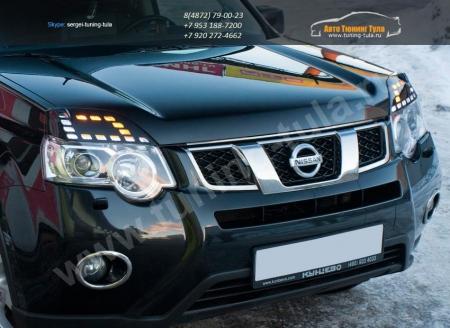 АБС-пластик Реснички на фары Nissan X-Trail II  ( 2011-2014)Накладки на фары - 2шт(левый и правый)