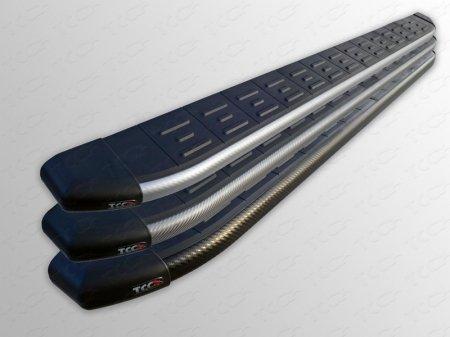 Geely Emgrand X7 2015- Пороги алюминиевые с пластиковой накладкой (карбон серебро) 1720 мм