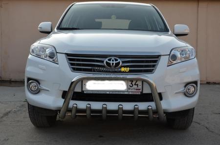 """Защита переднего бампера Toyota RAV4 2010 скоба низкая+""""акула"""" 53/42"""