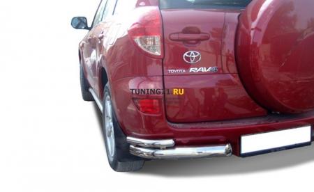 Защита заднего бампера Toyota RAV4 2006 угловая двойная 76/42