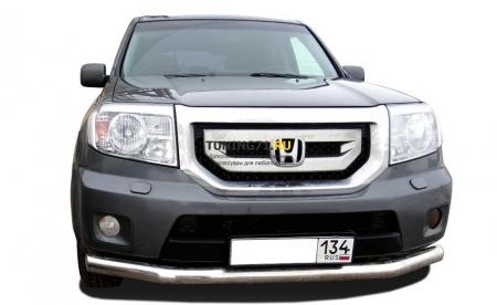 Защита переднего бампера Honda Pilot 2008 (с гибами) 60