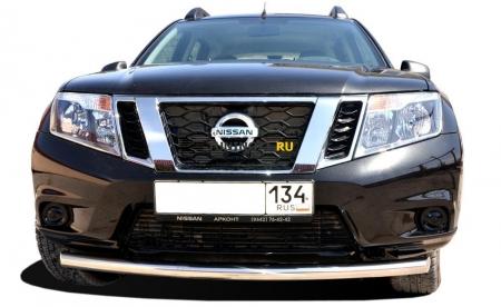 Защита переднего бампера Nissan Terrano 2015 радиус 60
