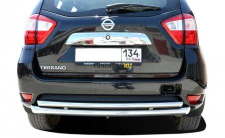 Защита заднего бампера Nissan Terrano 2015 двойная радиус 60/42