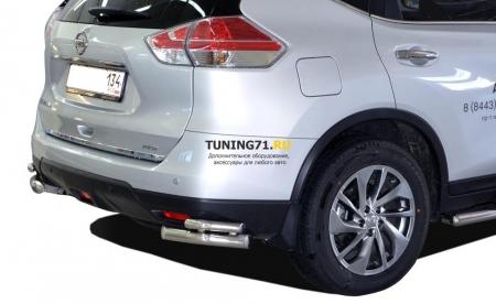 Защита заднего бампера Nissan X-trail 2015 угловая двойная 60/42
