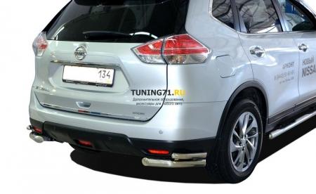 Защита заднего бампера Nissan X-trail 2015 угловая 60/42