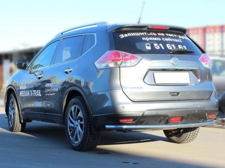 Nissan X-trail  2015-наст.вр.-Защита заднего бампера d-53 с подгибами
