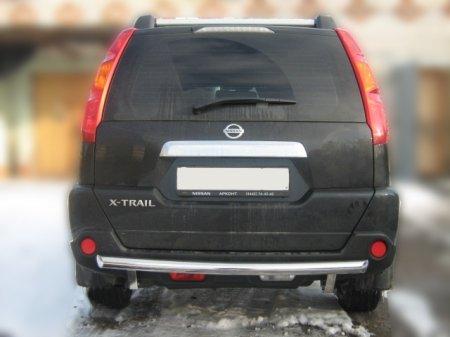 Nissan X-trail T31 2007-2010г.в.-Защита заднего бампера d-60 радиусная