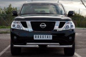 Nissan Patrol 2010 Защита переднего бампера d76/76 ступень PAZ-000892