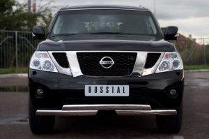Nissan Patrol 2010 Защита переднего бампера d75х42/75х42 ступень PAZ-000893