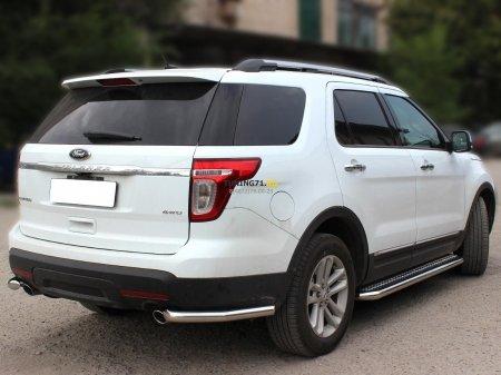 "Ford Explorer SPORT 2013г.-наст.вр-Защита заднего бампера""уголки"" одинарные d-60"