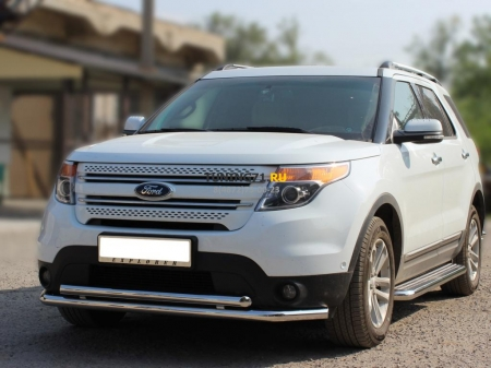 Ford Explorer SPORT 2013г.-наст.вр-Дуга передняя низкая d-60+53 радиусная двойная
