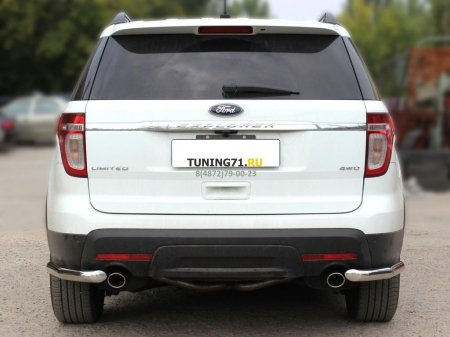 """Ford Explorer 2013г.-наст.вр-Защита заднего бампера""""уголки"""" одинарные d-60"""