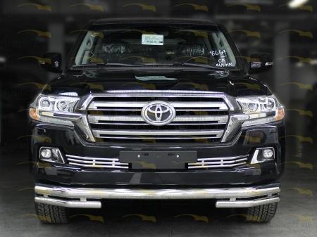 Дуга передняя по низу бампера d-76+60 радиусная (без доп. защиты картера d-43) Toyota Land Cruiser 200 2015-наст.вр.